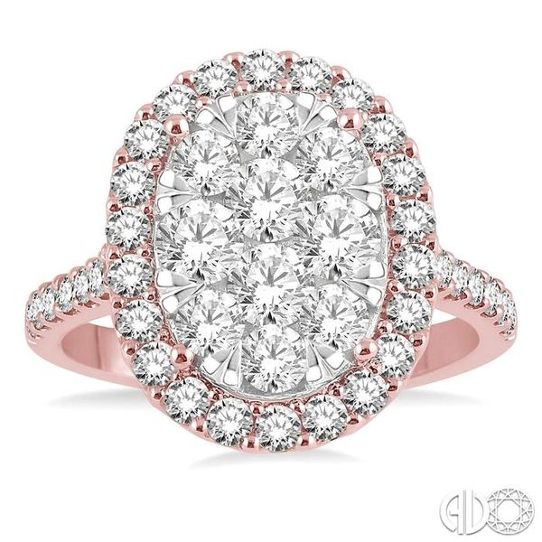 2 Ctw Oval Shape Diamond Lovebright Ring in 14K Rose and White Gold Image 2 Robert Irwin Jewelers Memphis, TN