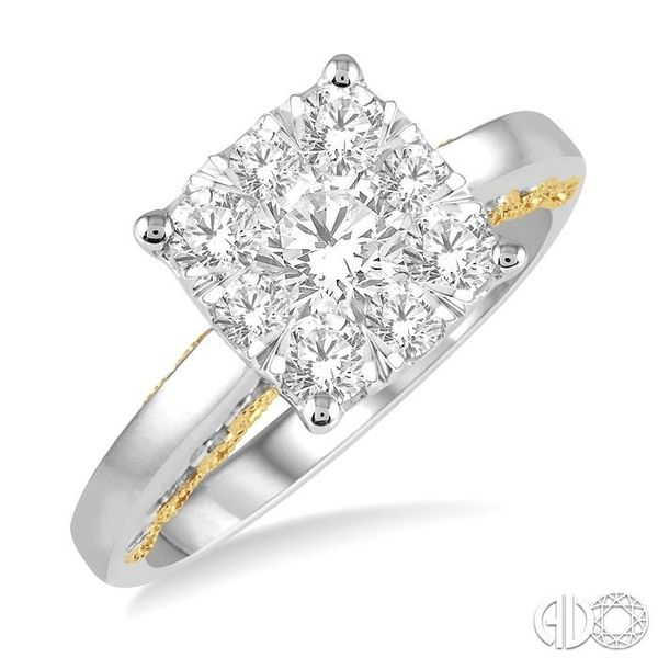 1 1/10 Ctw Round Diamond Lovebright Solitaire Style Engagement Ring in 14K White and Yellow Gold Robert Irwin Jewelers Memphis, TN