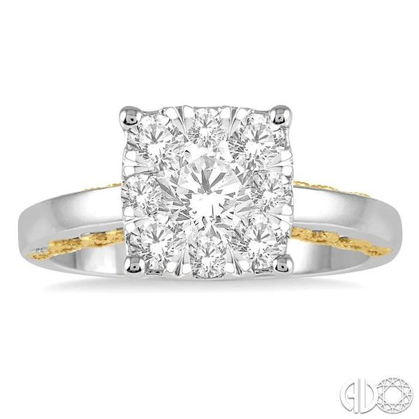 1 1/10 Ctw Round Diamond Lovebright Solitaire Style Engagement Ring in 14K White and Yellow Gold Image 2 Robert Irwin Jewelers Memphis, TN
