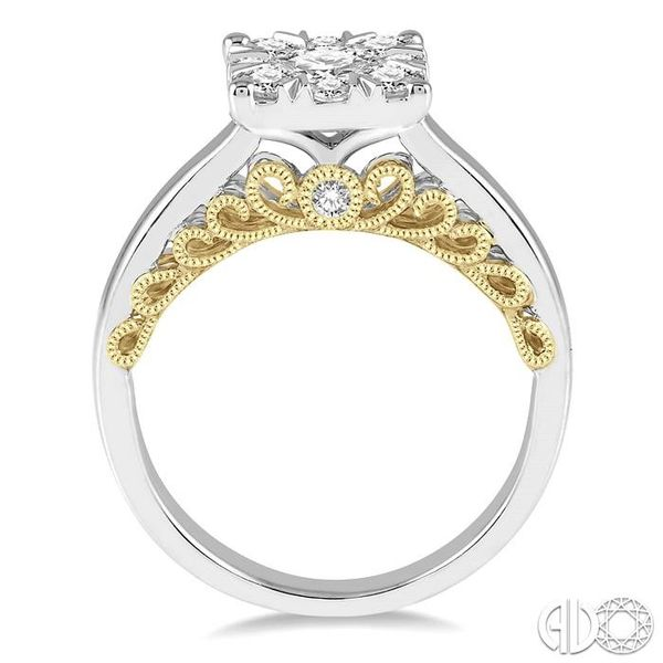 1 1/10 Ctw Round Diamond Lovebright Solitaire Style Engagement Ring in 14K White and Yellow Gold Image 3 Robert Irwin Jewelers Memphis, TN