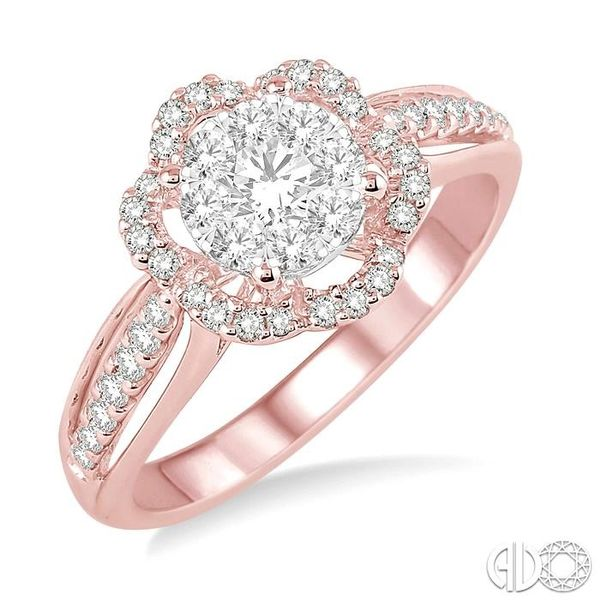 5/8 Ctw Round Cut Diamond Lovebright Flower Shape Ring in 14K Rose and White Gold Robert Irwin Jewelers Memphis, TN