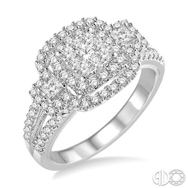 1 1/10 Ctw Square Shape Diamond Lovebright Engagement Ring in 14K White Gold Robert Irwin Jewelers Memphis, TN