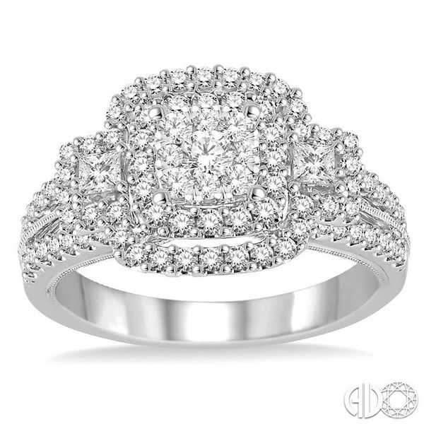 1 1/10 Ctw Square Shape Diamond Lovebright Engagement Ring in 14K White Gold Image 2 Robert Irwin Jewelers Memphis, TN