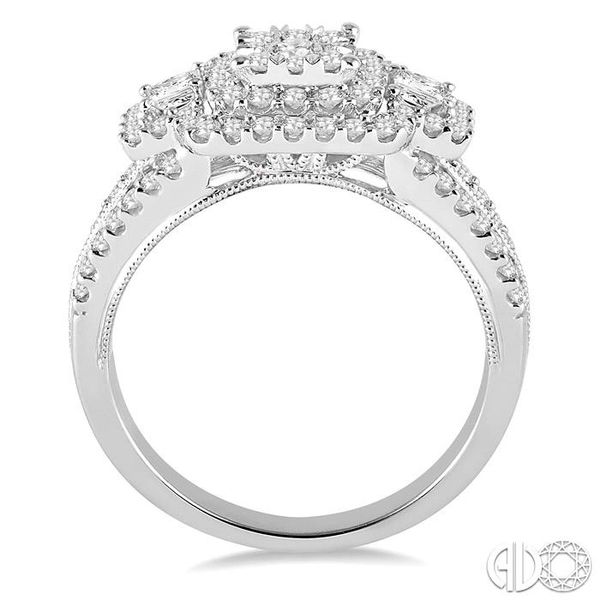1 1/10 Ctw Square Shape Diamond Lovebright Engagement Ring in 14K White Gold Image 3 Robert Irwin Jewelers Memphis, TN