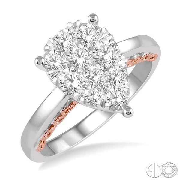 1 Ctw Round Diamond Lovebright Pear Shape Engagement Ring in 14K White and Rose Gold Robert Irwin Jewelers Memphis, TN
