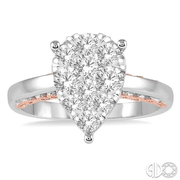 1 Ctw Round Diamond Lovebright Pear Shape Engagement Ring in 14K White and Rose Gold Image 2 Robert Irwin Jewelers Memphis, TN