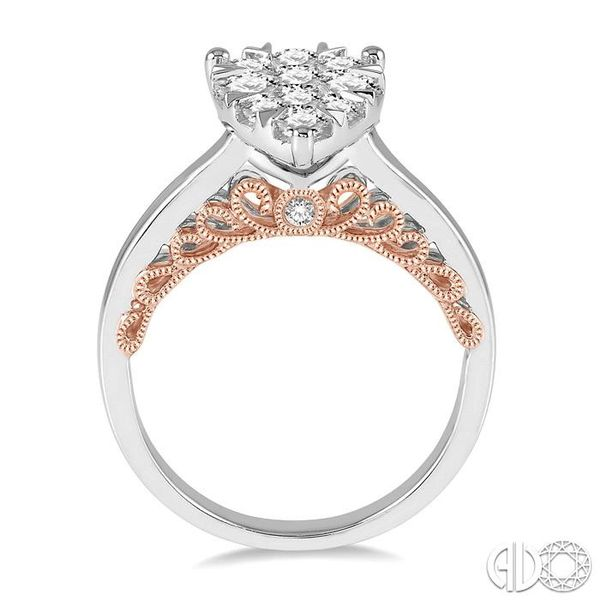 1 Ctw Round Diamond Lovebright Pear Shape Engagement Ring in 14K White and Rose Gold Image 3 Robert Irwin Jewelers Memphis, TN