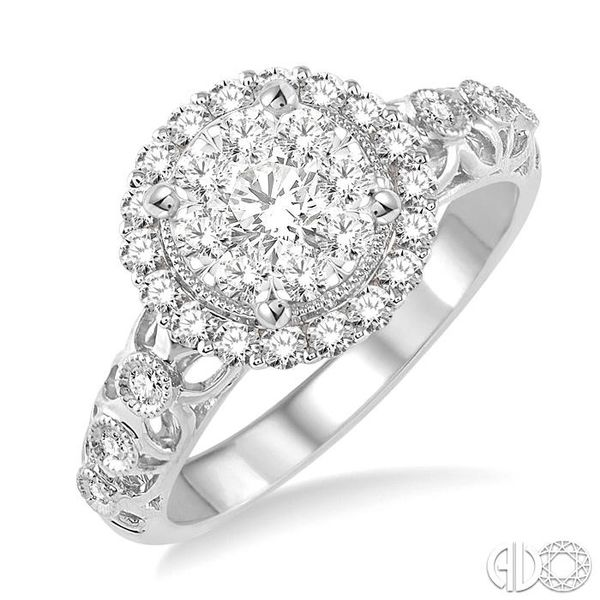 3/4 Ctw Diamond Lovebright Vintage Cutwork Engagement Ring in 14K White Gold Robert Irwin Jewelers Memphis, TN