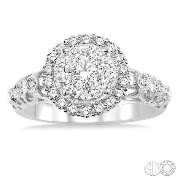 3/4 Ctw Diamond Lovebright Vintage Cutwork Engagement Ring in 14K White Gold Image 2 Robert Irwin Jewelers Memphis, TN