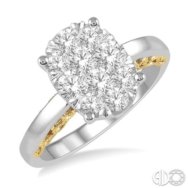 1 Ctw Round Diamond Lovebright Oval Solitaire Style Engagement Ring in 14K White and Yellow Gold Robert Irwin Jewelers Memphis, TN