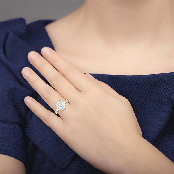 1 Ctw Round Diamond Lovebright Oval Solitaire Style Engagement Ring in 14K White and Yellow Gold Image 4 Robert Irwin Jewelers Memphis, TN