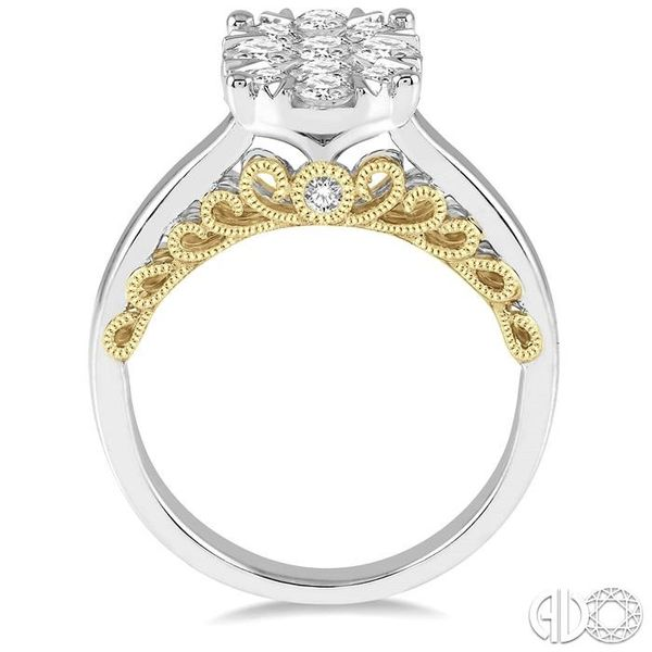 1 Ctw Round Diamond Lovebright Oval Solitaire Style Engagement Ring in 14K White and Yellow Gold Image 3 Robert Irwin Jewelers Memphis, TN