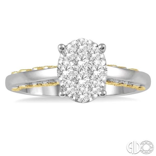 1/2 Ctw Round Diamond Lovebright Oval Solitaire Style Engagement Ring in 14K White and Yellow Gold Image 2 Robert Irwin Jewelers Memphis, TN