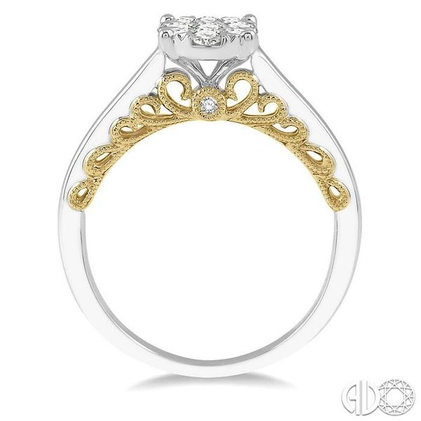 1/2 Ctw Round Diamond Lovebright Oval Solitaire Style Engagement Ring in 14K White and Yellow Gold Image 3 Robert Irwin Jewelers Memphis, TN