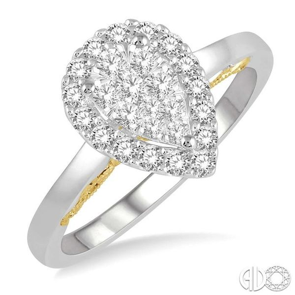 1/2 Ctw Pear Shape Lovebright Round Cut Diamond Ring in 14K White and Yellow Gold Robert Irwin Jewelers Memphis, TN