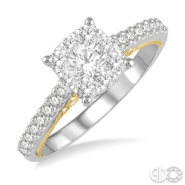 3/4 Ctw Round Diamond Lovebright Square Shape Engagement Ring in 14K White and Yellow Gold Robert Irwin Jewelers Memphis, TN
