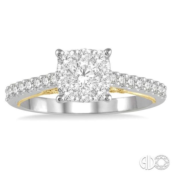 3/4 Ctw Round Diamond Lovebright Square Shape Engagement Ring in 14K White and Yellow Gold Image 2 Robert Irwin Jewelers Memphis, TN