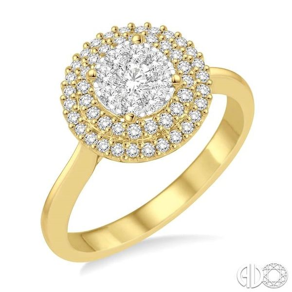 1/2 Ctw Diamond Lovebright Double Halo Ring in 14K Yellow and White Gold Robert Irwin Jewelers Memphis, TN