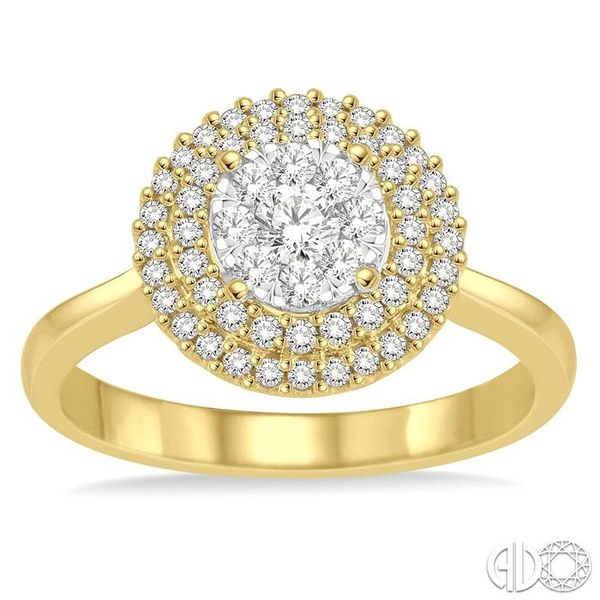 1/2 Ctw Diamond Lovebright Double Halo Ring in 14K Yellow and White Gold Image 2 Robert Irwin Jewelers Memphis, TN