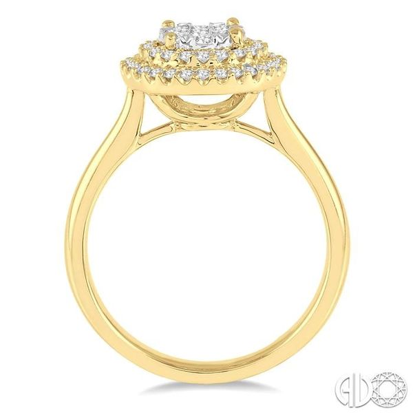 1/2 Ctw Diamond Lovebright Double Halo Ring in 14K Yellow and White Gold Image 3 Robert Irwin Jewelers Memphis, TN