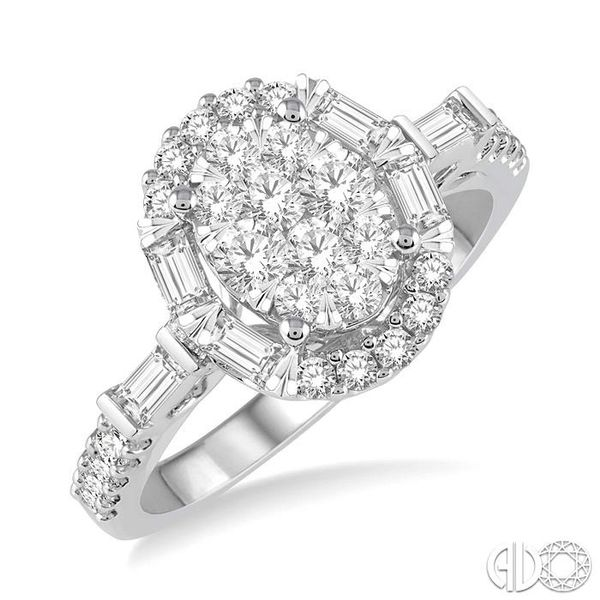 1 Ctw Diamond Lovebright Oval Halo Engagement Ring in 14K White Gold Robert Irwin Jewelers Memphis, TN