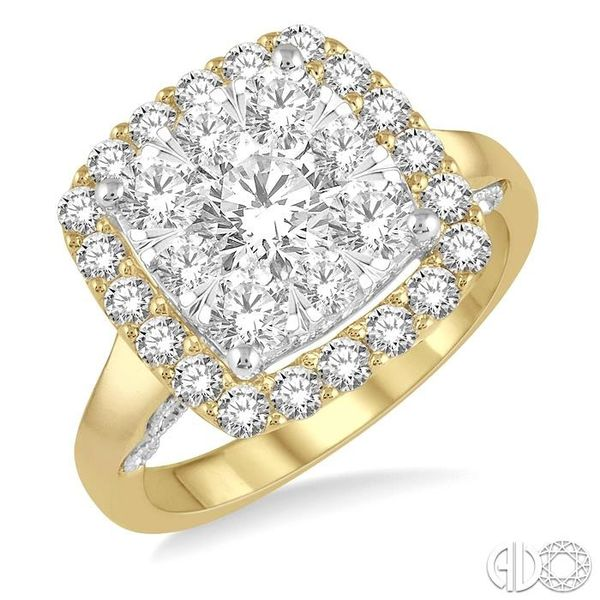 1 1/2 Ctw Cushion Shape Lovebright Round Cut Diamond Cluster Ring in 14K Yellow and white gold Robert Irwin Jewelers Memphis, TN