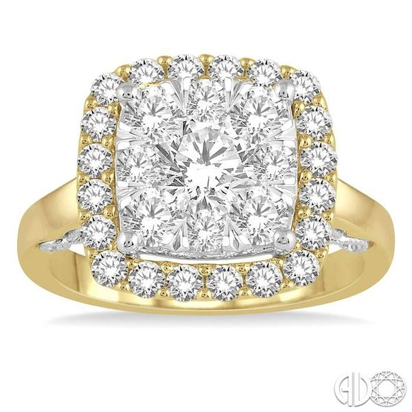 1 1/2 Ctw Cushion Shape Lovebright Round Cut Diamond Cluster Ring in 14K Yellow and white gold Image 2 Robert Irwin Jewelers Memphis, TN