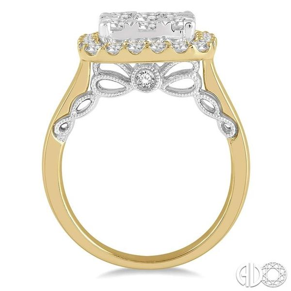 1 1/2 Ctw Cushion Shape Lovebright Round Cut Diamond Cluster Ring in 14K Yellow and white gold Image 3 Robert Irwin Jewelers Memphis, TN
