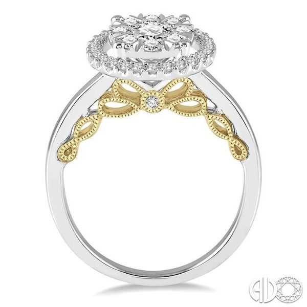1 Ctw round Diamond Lovebright Solitaire Style Halo Engagement Ring in 14K White and Yellow Gold Image 3 Robert Irwin Jewelers Memphis, TN