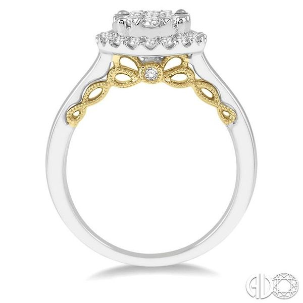3/4 Ctw round Diamond Lovebright Solitaire Style Halo Engagement Ring in 14K White and Yellow Gold Image 3 Robert Irwin Jewelers Memphis, TN