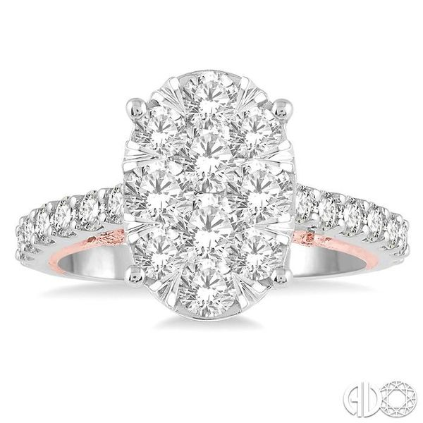2 Ctw Oval Shape Lovebright Round Cut Diamond Ring in 14K White and Rose Gold Image 2 Robert Irwin Jewelers Memphis, TN