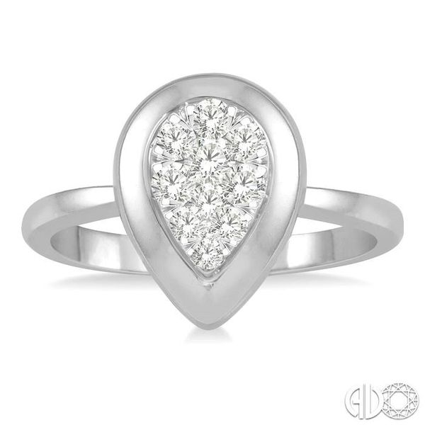 1/3 Ctw Pear Shape Diamond Lovebright Ring in 14K White Gold Image 2 Robert Irwin Jewelers Memphis, TN