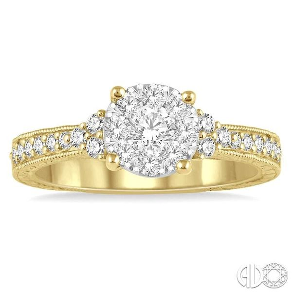 5/8 Ctw Round Shape Lovebright Diamond Cluster Ring in 14K Yellow and White Gold Image 2 Robert Irwin Jewelers Memphis, TN