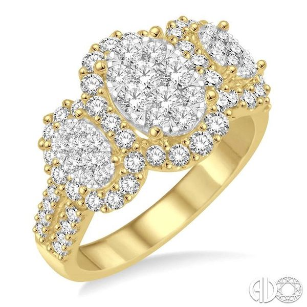 1 1/3 Ctw Diamond Lovebright Ring in 14K Yellow and White Gold Robert Irwin Jewelers Memphis, TN