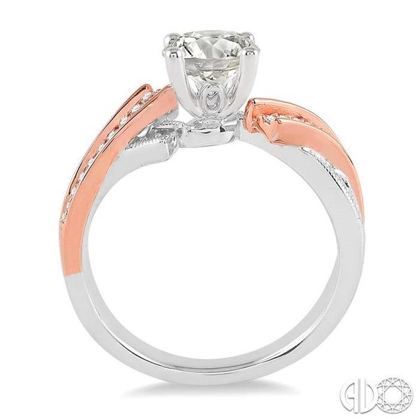 3/4 Ctw Diamond Engagement Ring with 1/2 Ct Round Cut Center Stone in 14K White and Rose Gold Image 3 Robert Irwin Jewelers Memphis, TN