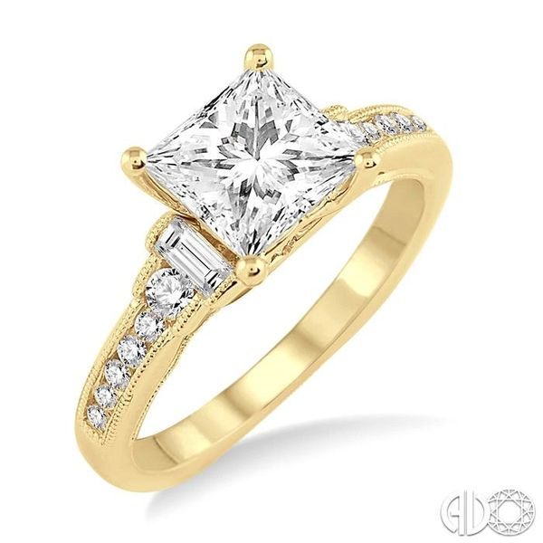 7/8 Ctw Diamond Engagement Ring with 1/2 Ct Princess Cut Center Stone in 14K Yellow Gold Robert Irwin Jewelers Memphis, TN