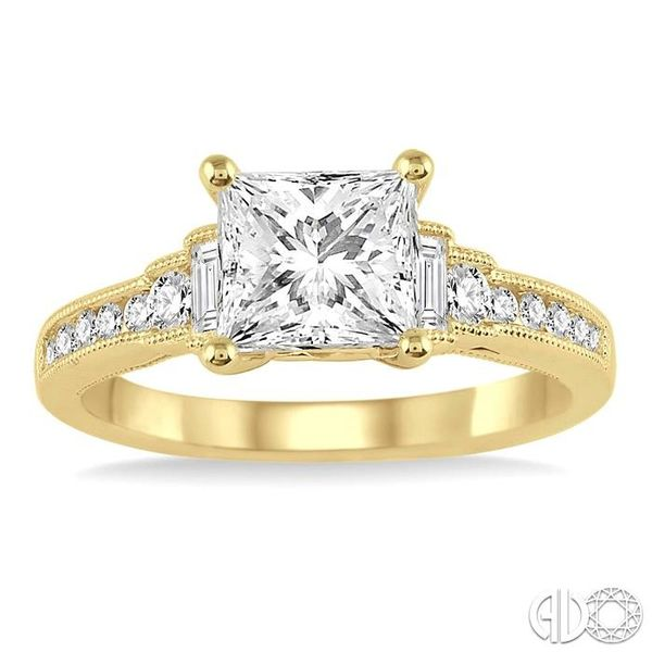 7/8 Ctw Diamond Engagement Ring with 1/2 Ct Princess Cut Center Stone in 14K Yellow Gold Image 2 Robert Irwin Jewelers Memphis, TN