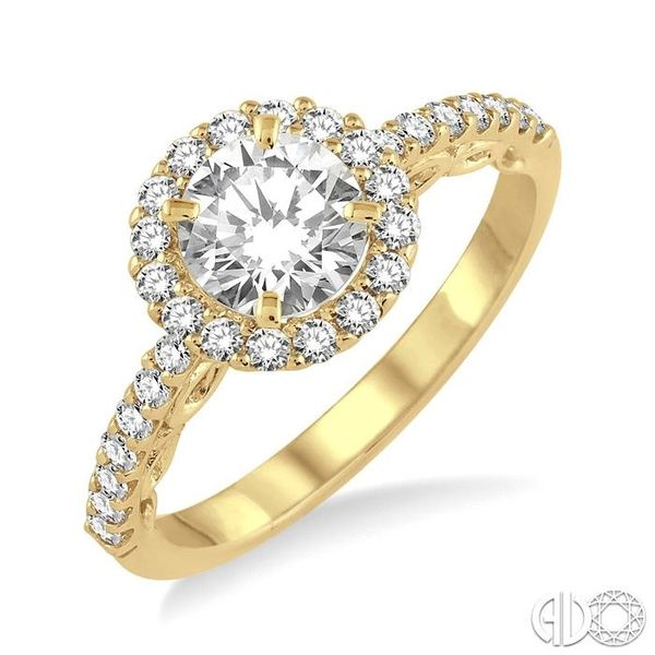 3/4 Ctw Diamond Engagement Ring with 3/8 Ct Round Cut Center Stone in 14K Yellow Gold Robert Irwin Jewelers Memphis, TN