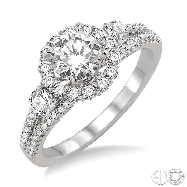 3/4 Ctw Diamond Engagement Ring with 1/3 Ct Round Cut Center Stone in 14K White Gold Robert Irwin Jewelers Memphis, TN