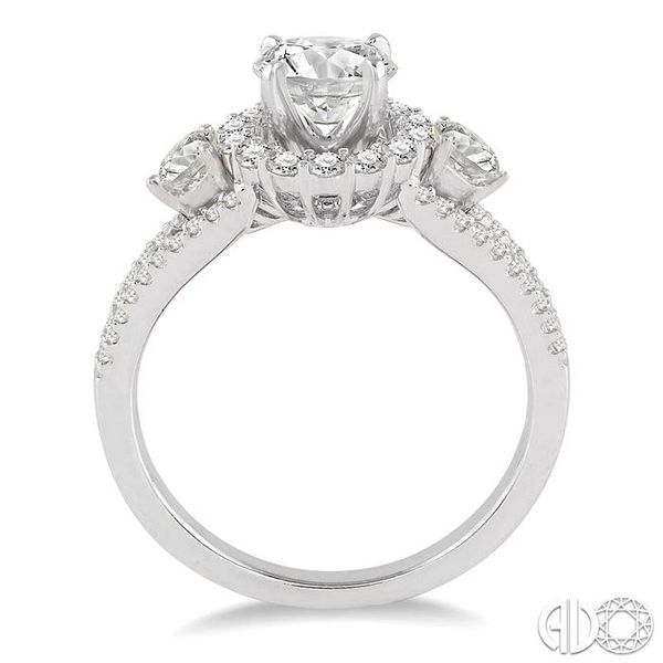 3/4 Ctw Diamond Engagement Ring with 1/3 Ct Round Cut Center Stone in 14K White Gold Image 3 Robert Irwin Jewelers Memphis, TN