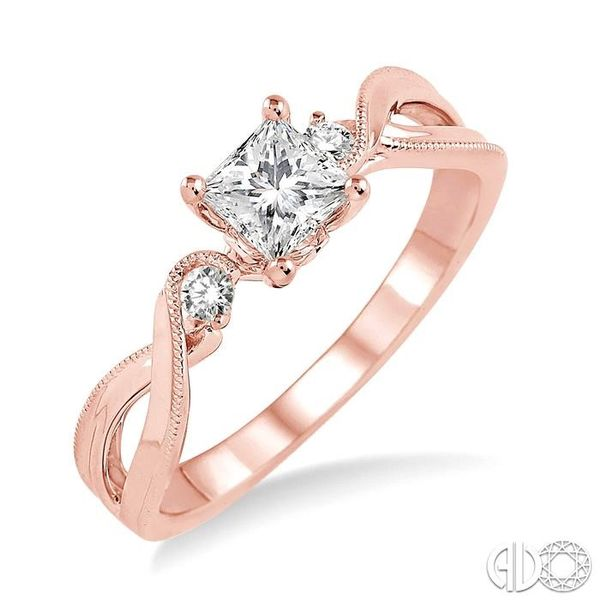 3/8 Ctw Diamond Engagement Ring with 1/3 Ct Princess Cut Center Stone in 14K Rose Gold Robert Irwin Jewelers Memphis, TN