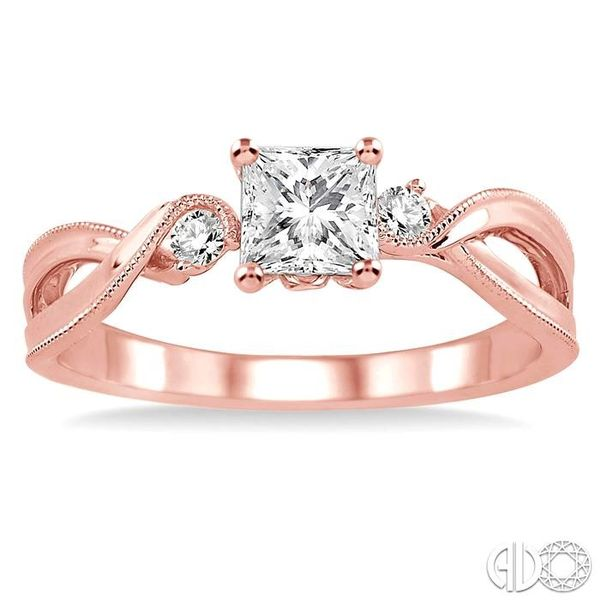 3/8 Ctw Diamond Engagement Ring with 1/3 Ct Princess Cut Center Stone in 14K Rose Gold Image 2 Robert Irwin Jewelers Memphis, TN