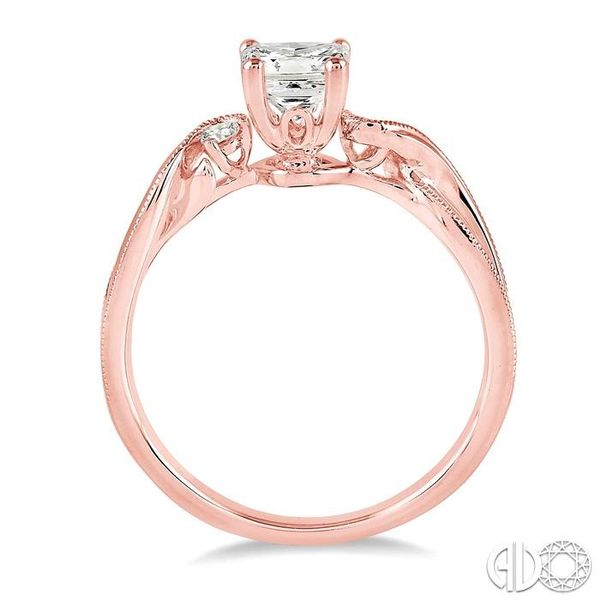 3/8 Ctw Diamond Engagement Ring with 1/3 Ct Princess Cut Center Stone in 14K Rose Gold Image 3 Robert Irwin Jewelers Memphis, TN