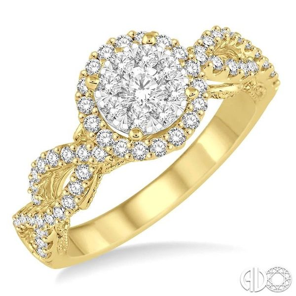 3/4 Ctw Round Cut Diamond Lovebright Ring in 14K Yellow and White Gold Robert Irwin Jewelers Memphis, TN