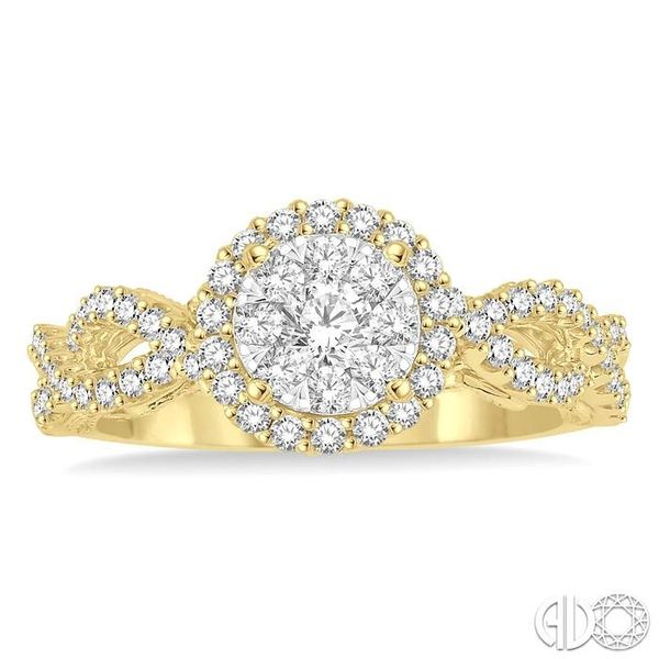3/4 Ctw Round Cut Diamond Lovebright Ring in 14K Yellow and White Gold Image 2 Robert Irwin Jewelers Memphis, TN