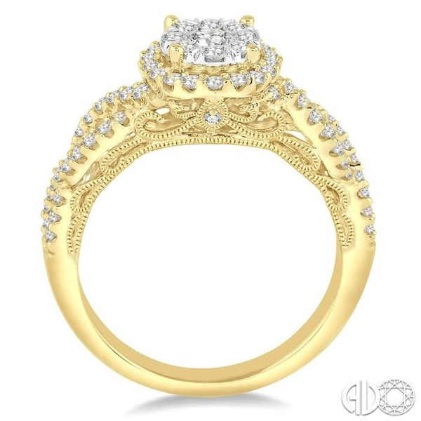 3/4 Ctw Round Cut Diamond Lovebright Ring in 14K Yellow and White Gold Image 3 Robert Irwin Jewelers Memphis, TN