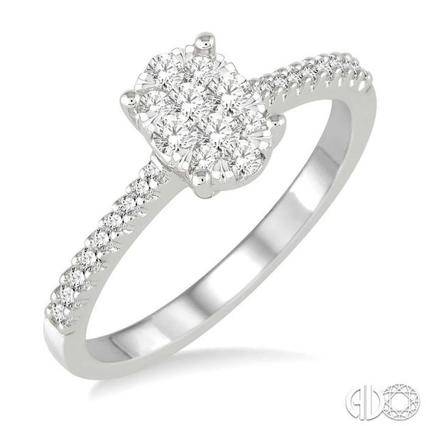 3/8 Ctw Oval Shape Diamond Lovebright Ring in 14K White Gold Robert Irwin Jewelers Memphis, TN