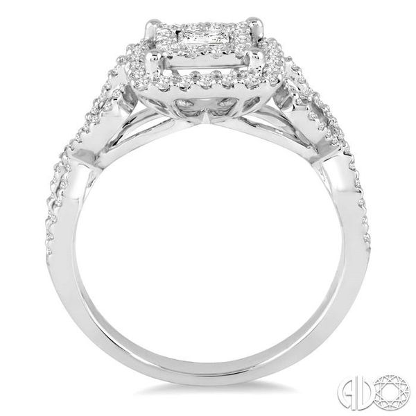 3/4 Ctw Round Cut Diamond Lovebright Square Shape Engagement Ring in 14K White Gold Image 3 Robert Irwin Jewelers Memphis, TN
