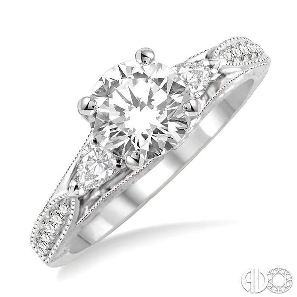 1 1/10 Ctw Diamond Engagement Ring with 3/4 Ct Round Cut Center Stone in 14K White Gold Robert Irwin Jewelers Memphis, TN