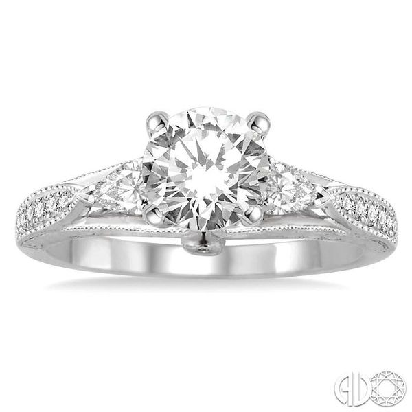 1 1/10 Ctw Diamond Engagement Ring with 3/4 Ct Round Cut Center Stone in 14K White Gold Image 2 Robert Irwin Jewelers Memphis, TN